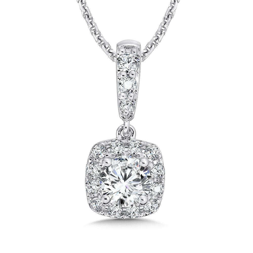 Caro74 diamond cushion halo pendant with diamond bale in 14k white caro74 diamond cushion halo pendant with diamond bale in 14k white gold 12 mozeypictures Image collections