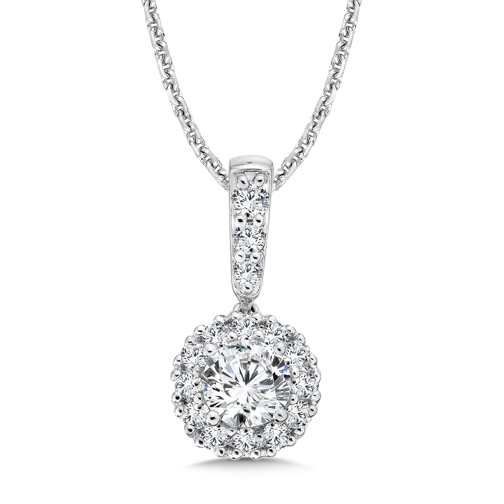 Caro74 diamond round halo pendant with diamond bale in 14k white caro74 diamond round halo pendant with diamond bale in 14k white gold 12 aloadofball Choice Image