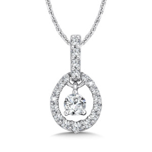 Caro74 Diamond Oval Pendant with Diamond Bale in 14K White Gold (1/4ct. tw.) (HCFP641WCTJ)