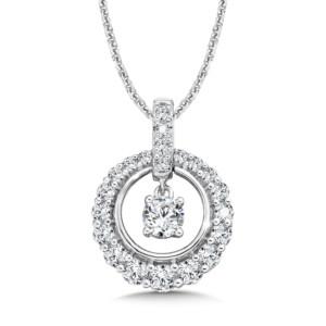 Caro74 Diamond Round Pendant with Diamond Bale in 14K White Gold (1/4ct. tw.) (HCFP642WJ)