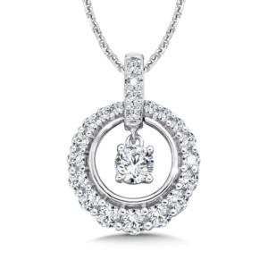 Caro74 Diamond Round Pendant with Diamond Bale in 14K White Gold (1/4ct. tw.) (HCFP642WCTJ)
