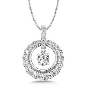 Caro74 Diamond Round Pendant with Diamond Bale in 14K White Gold (1/2ct. tw.) (HCFP643WJ)