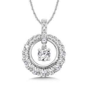 Caro74 Diamond Round Pendant with Diamond Bale in 14K White Gold (1/2ct. tw.) (HCFP643WCTJ)