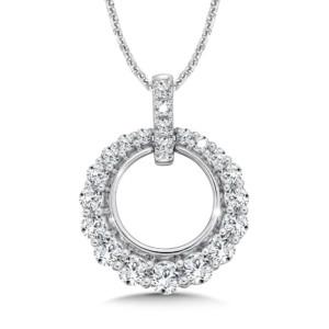 Caro74 Open Diamond Round Pendant with Diamond Bale in 14K White Gold  (HCFP644WJ)