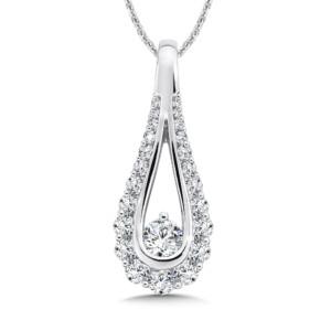 Caro74 Diamond Open Pear-shape Pendant in 14K White Gold (1/2ct. tw.) (HCFP647WCTJ)