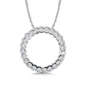 Caro74 Circle Diamond Pendant in 14K White Gold (HCFP650WJ)