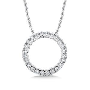 Caro74 Circle Diamond Pendant in 14K White Gold (HCFP651WJ)