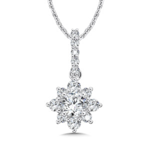 Caro74 Floral Diamond Pendant with Diamond Bale in 14K White Gold (1/2ct. tw.) (HCFP652WCTJ)