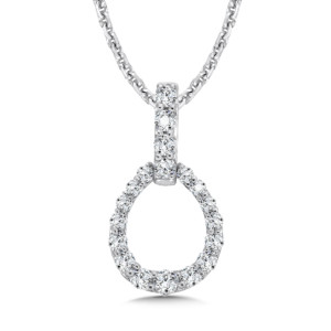 Caro74 Diamond Pendant in Egg shape with Diamond Bale in 14K White Gold (HCFP653WJ)