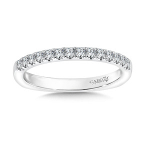 Caro74 Prong Set Round Diamond Wedding Band in 14K White Gold  (HCR105BWJ)