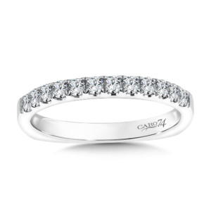 Caro74 Prong Set Round Diamond Wedding Band in 14K White Gold  (HCR106BWJ)