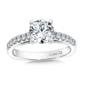Caro74 Prong Set Round Diamond Engagement Ring with Side Stones in 14K White Gold with Platinum Head (1-1/4ct. tw.) (HCR106WJ)