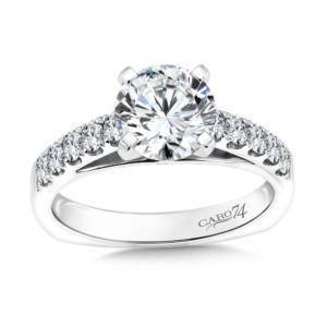 Caro74 Prong Set Round Diamond Engagement Ring With Side Stones in 14K White Gold with Platinum Head (1-1/2ct. tw.) (HCR107WJ)