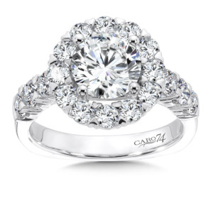 Caro74 Diamond Halo Engagement Ring in 14K White Gold with Platinum Head (1-1/2 ct.) (HCR114WJ)