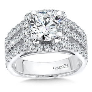 Caro74 Diamond Halo Engagement Ring in 14K White Gold with Platinum Head (2ct. tw.) (HCR115WJ)