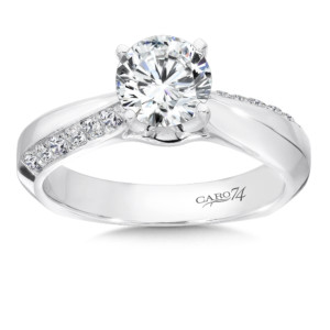 Caro74 Diamond Engagement Ring With Prong and Channel Set Side Stones and Pinched 14K White Gold with Platinum Head (1ct. tw.) (HCR116WJ)