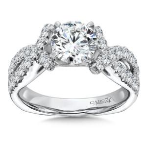 Caro74 Prong Set Round Diamond Criss Cross Engagement Ring in 14K White Gold with Platinum Head (1-1/4ct. tw.) (HCR117WJ)