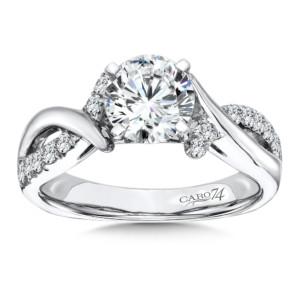 Caro74 Diamond Criss Cross Engagement Ring in 14K White Gold with Platinum Head (1-1/4ct. tw.) (HCR118WJ)