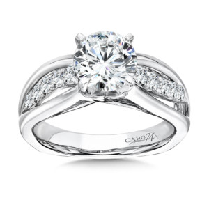 Caro74 Diamond Criss Cross Engagement Ring in 14K White Gold with Platinum Head (1-1/2ct. tw.) (HCR119WJ)