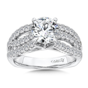 Caro74 Diamond Engagement Ring With Side Stones in 14K White Gold with Platinum Head (1-1/2ct. tw.) (HCR121WJ)