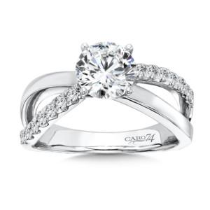 Caro74 Diamond Split Shank Engagement Ring in 14K White Gold with Platinum Head (1-1/4ct. tw.) (HCR125WJ)