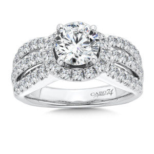 Caro74 Diamond Engagement Ring With Side Stones in 14K White Gold with Platinum Head (1-1/4ct. tw.) (HCR132WJ)