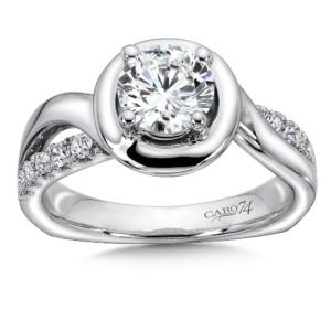 Caro74 Halo Diamond Engagement Ring in 14K White Gold with Platinum Head (1ct. tw.) (HCR145WJ)