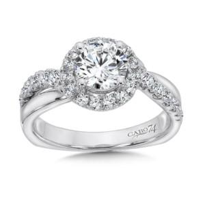 Caro74 Diamond Halo Engagement Ring in 14K White Gold with Platinum Head (1ct. tw.) (HCR147WJ)