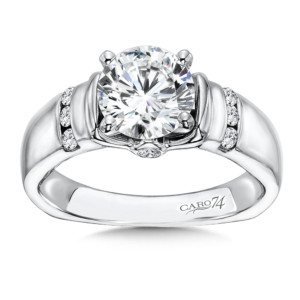 Caro74 Diamond Engagement Ring With Channel Set Side Stones in 14K White Gold with Platinum Head (1-1/2ct. tw.) (HCR150WJ)