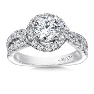 Caro74 Diamond Halo Engagement Ring in 14K White Gold with Platinum Head (1ct. tw.) (HCR153WJ)