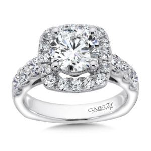 Caro74 Cushion Shaped Halo Diamond Engagement Ring with Side Stones in 14K White Gold with Platinum Head (2ct. tw.) (HCR155WJ)