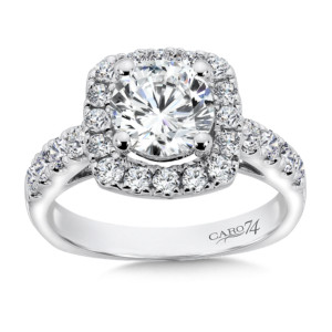 Caro74 Diamond Halo Engagement Ring with Side Stones in 14K White Gold with Platinum Head (1-1/2ct. tw.) (HCR156WJ)