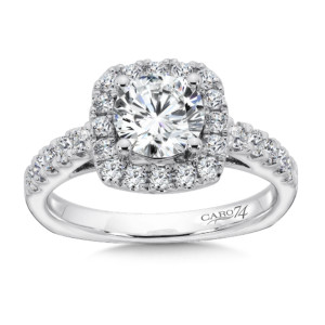 Caro74 Cushion Shaped Halo Diamond Engagement Ring with Side Stones in 14K White Gold with Platinum Head (1ct. tw.) (HCR157WJ)