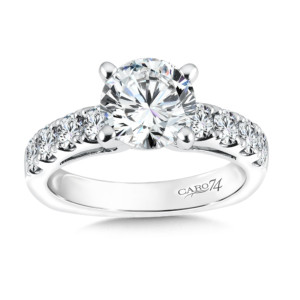 Caro74 Diamond Engagement Ring With Side Stones in 14K White Gold with Platinum Head (2ct. tw.) (HCR158WJ)
