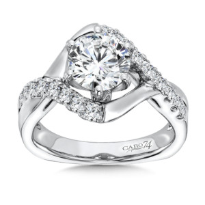 Caro74 Diamond Engagement Ring With Side Stones in 14K White Gold with Platinum Head (1-1/2ct. tw.) (HCR160WJ)