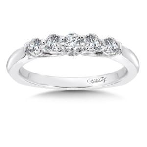 Caro74 Diamond and 14K White Gold Wedding Ring  (HCR614BWJ)
