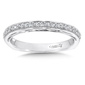 Caro74 Diamond and 14K White Gold Wedding Ring  (HCR616BWJ)