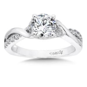 Caro74 Criss Cross Engagement Ring in 14K White Gold (1ct. tw.) (HCR630W-4KHJ)