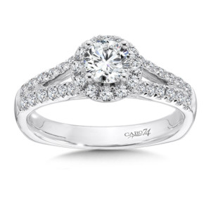 Caro74 Halo Engagement Ring with Split Shank in 14K White Gold (1/2ct. tw.) (HCR638W-4KHJ)