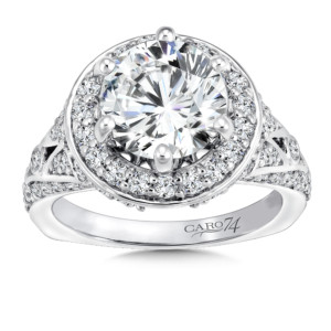 Caro74 Round halo mounting with side stones .97 ct. tw., 2 1/2 ct. round center. (HCR663WJ)