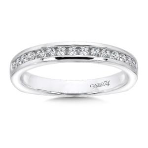 Caro74 Channel-Set Diamond and 14K White Gold Wedding Ring  (HCR70BWJ)