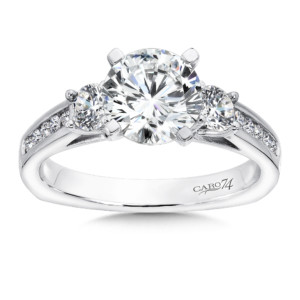 Caro74 3 Stone Engagement Ring in 14K White Gold with Platinum Head (1-1/2ct. tw.) (HCR70WJ)