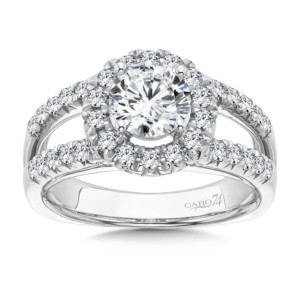 Caro74 Round Halo Engagement Ring with Split Shank and Side Stones in 14K White Gold (1ct. tw.) (HCR79WJ)