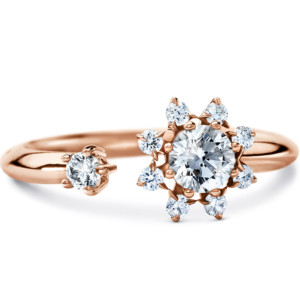 DIAMA 18k Rose Gold Swarovski Created Diamond Bloom Ring 007J