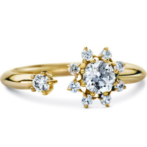 DIAMA 18k Yellow Gold Swarovski Created Diamond Bloom Ring 008J