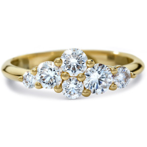 DIAMA 18k Yellow Gold Swarovski Created Diamond Glacial Ring