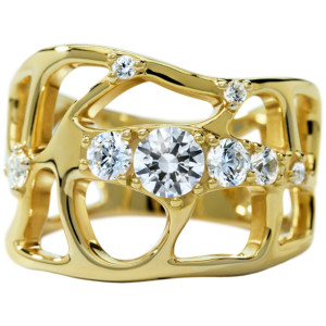 DIAMA 18k Yellow Gold Swarovski Created Diamond Lace Ring