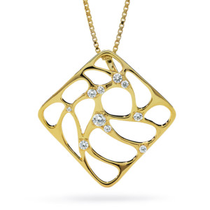 DIAMA 18k Yellow Gold Swarovski Created Diamond Intimate Necklace