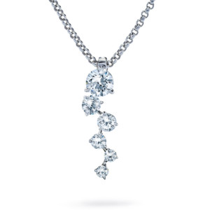 DIAMA 18k White Gold Swarovski Created Diamond Signature Necklace 034J