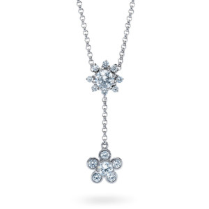 DIAMA 18k White Gold Swarovski Created Diamond Bloom Necklace